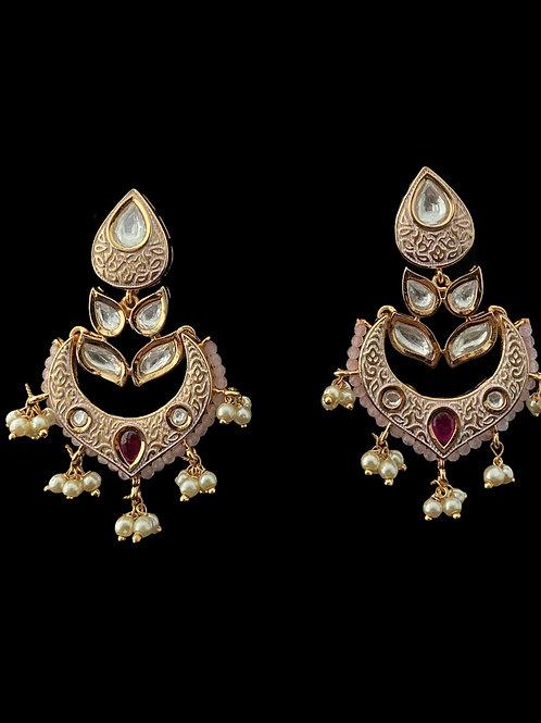 Pink Kundan Meenakari Chandbali Earrings