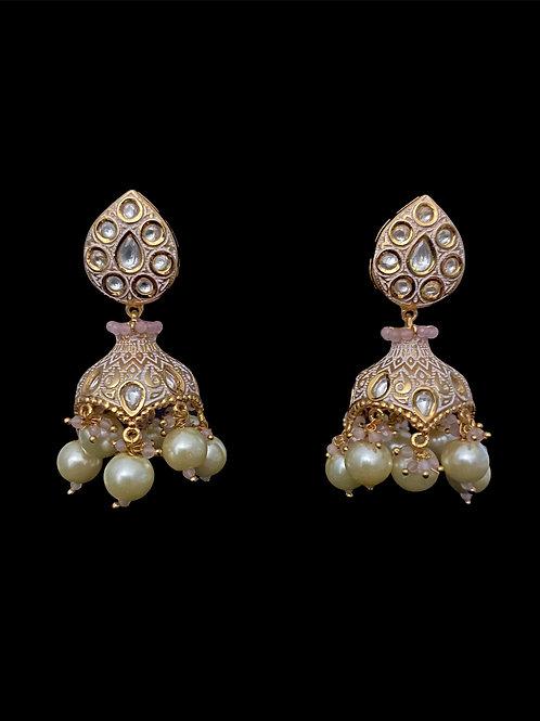 Blush Pink Gold Stylized Jhumka Earrings
