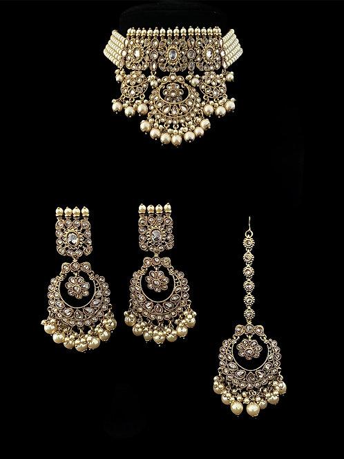 Ivory Polki Pearl Choker Necklace Set