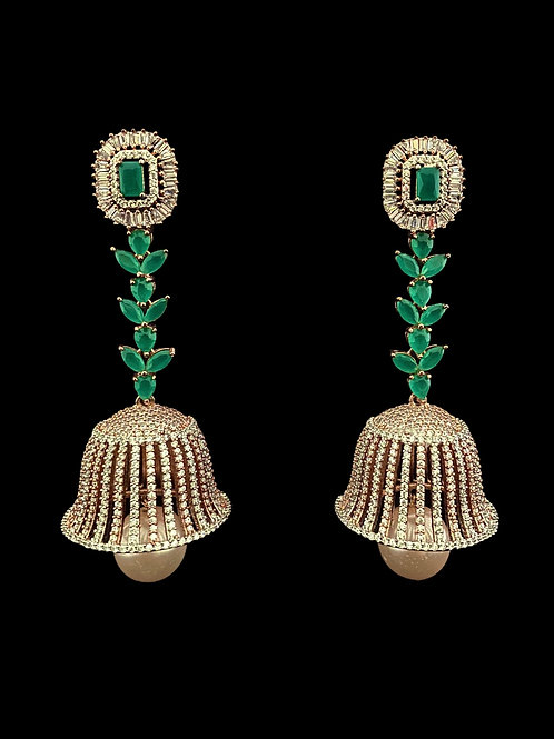 Emerald Green CZ Rose Gold Jhumka Earrings