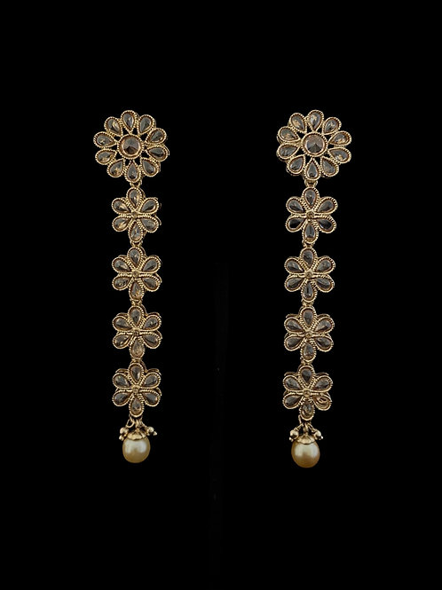 Soft Gold Linear Floral Earrings