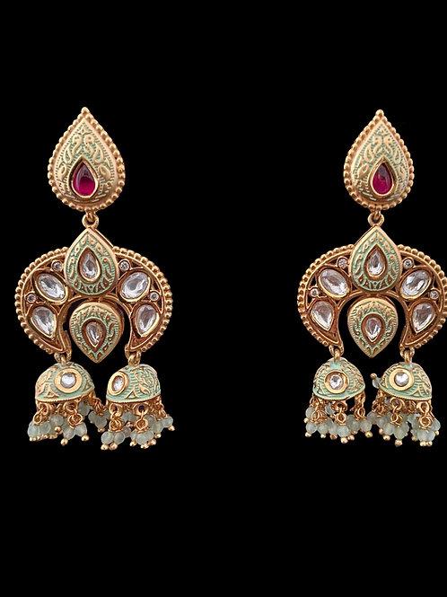 Mint Green Kundan Jhumki Earrings