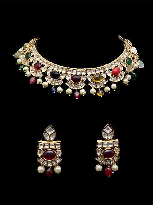 Navratna Multicolor Choker Necklace Set