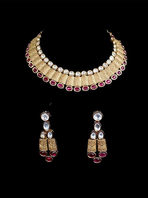 Gold Ruby Red Kundan Geometric Necklace Set