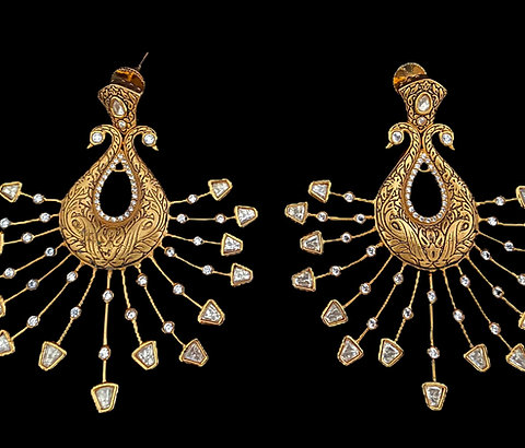 Limited Edition Rays of Gold Peacock Earrings
