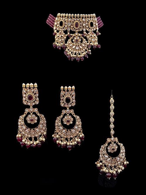 Ruby Red Polki Choker Necklace Set