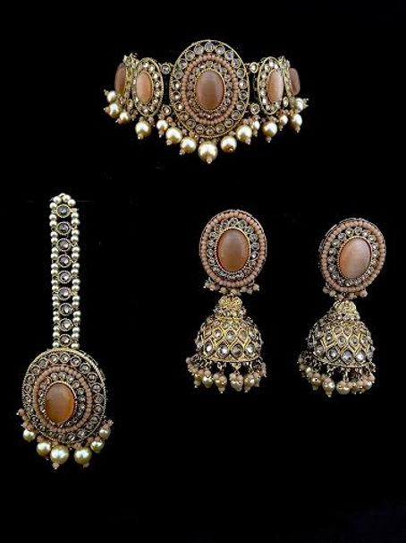 Peach Light Coral Oval Choker Necklace Set