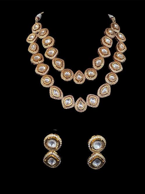 Modern Geometric  Two-Strand Polki Necklace Set
