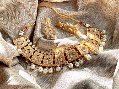 Ivory Gold Kundan Meenakari Geometric Necklace Set