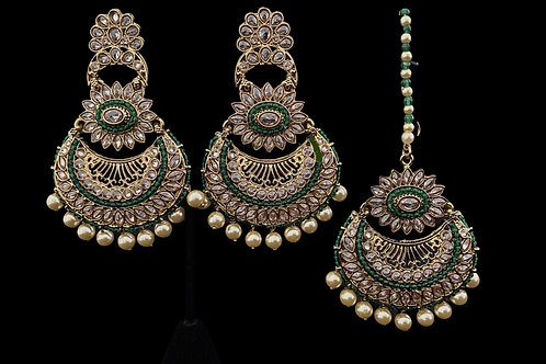 Green Polki Mangtika Earrings Set
