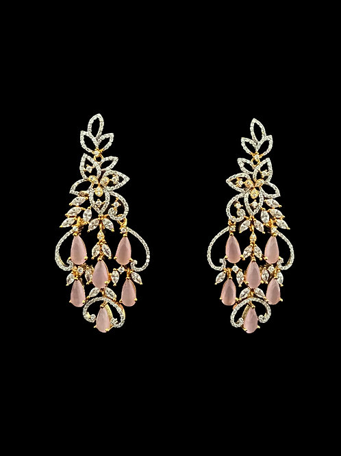 Pink CZ Fringe Chandelier Earrings