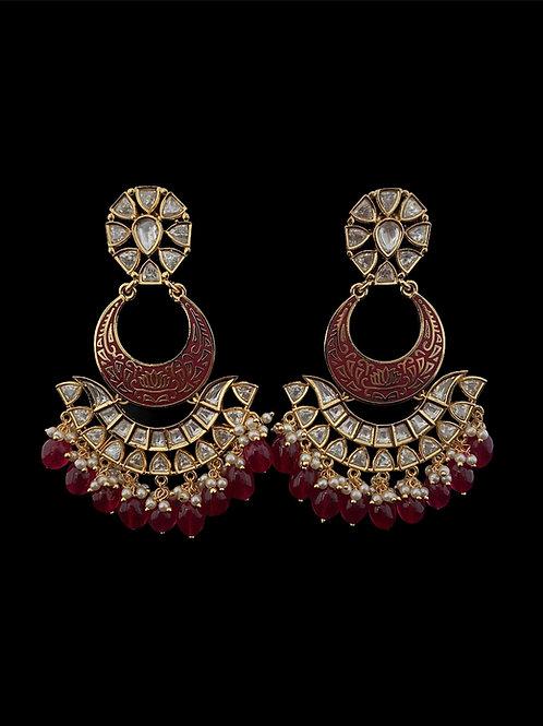 Red Kundan Polki Chandbali Earrings