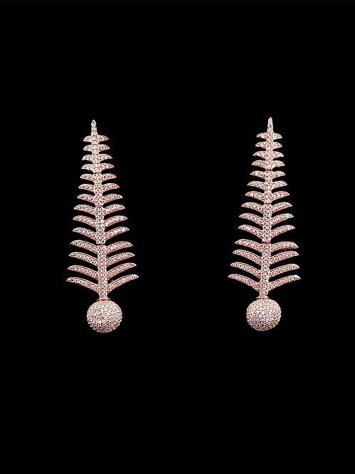 Rose Gold CZ Fern Earrings