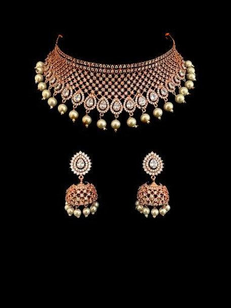 Rose Gold CZ Pearl Choker Necklace Set