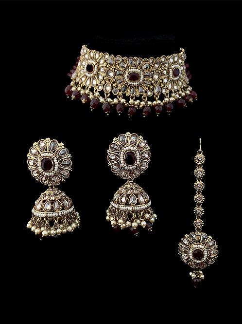 Ruby Red Polki Stiff Choker Necklace Set