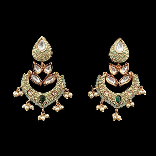Mint Green Kundan Meenakari Dainty Chandbali Earrings
