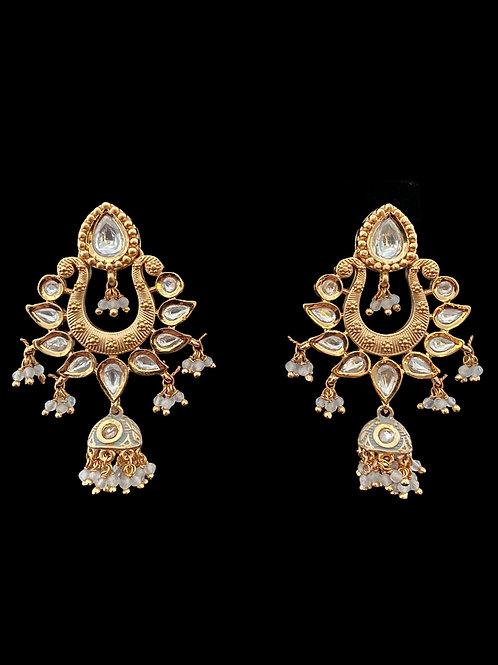 Gold/Gray Jhumki Chandbali Earrings