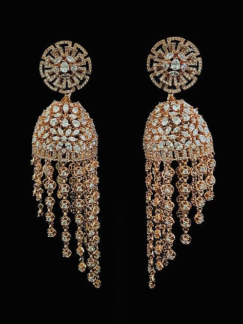 Rose Gold Fringe CZ Jhumka Earringss