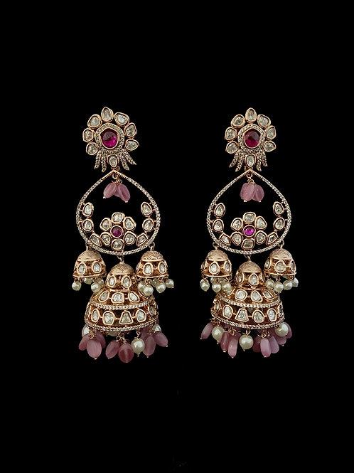 Pink Kundan Polki Jhumka Earrings