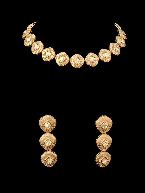 Pink Rose Gold Geometric Kundan Choker Set