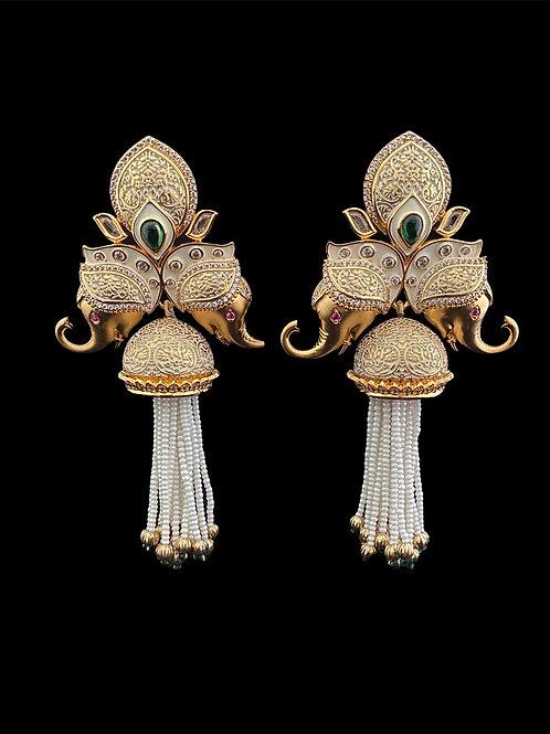 Meenakari Elephant Fringe Jhumka Earrings