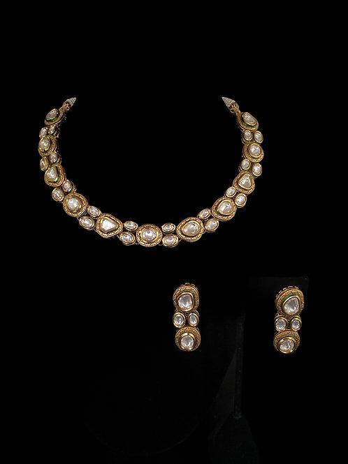 Gold Bronze Kundan Polki Choker Necklace Set