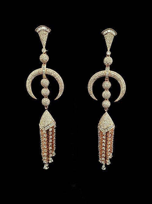 Bohemian Rose Gold Fringe Earrings