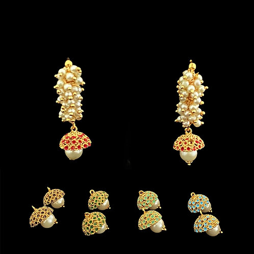 5-pairs-in-1 Changeable Jhumki Earrings
