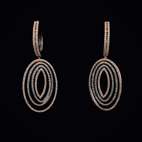 Rose Gold/Gray Concentric Oval Earrings