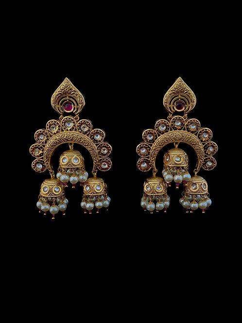 Bronze Triple Jhumki Temple earrings