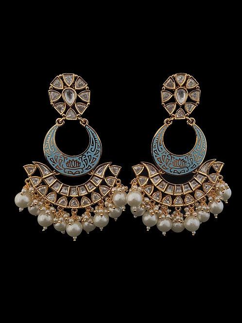 Fine Kundan Polki Chandbali Earrings