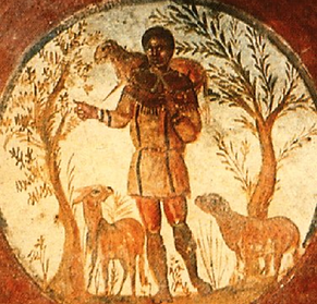 The Good Shepherd, Catacombs of Rome, 3rd c.