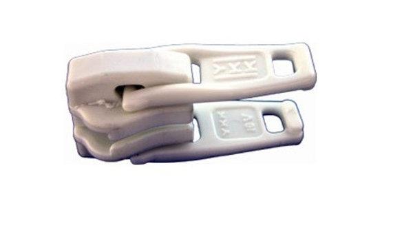 Carro plástico doble blanco para cierre YKK N°10.