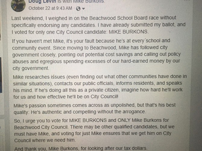 I am voting for Mike Burkons
