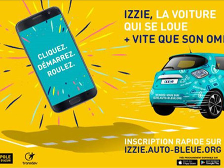 Izzie, le nouveau service de location AutoBleue de Nice.