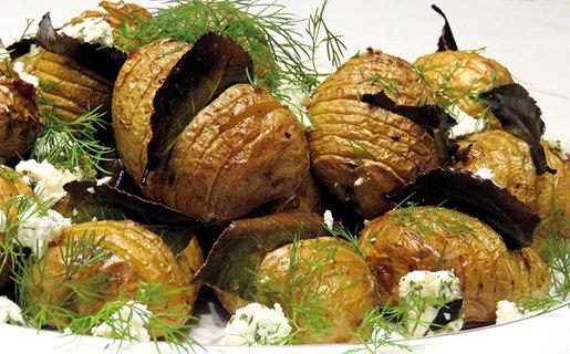 Hasselback potatoes with garlic Feta