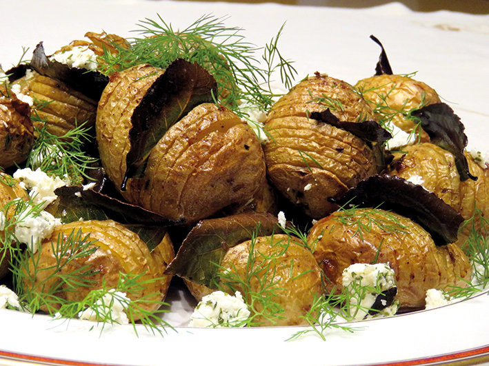 Hasselback potatoes with garlic Feta