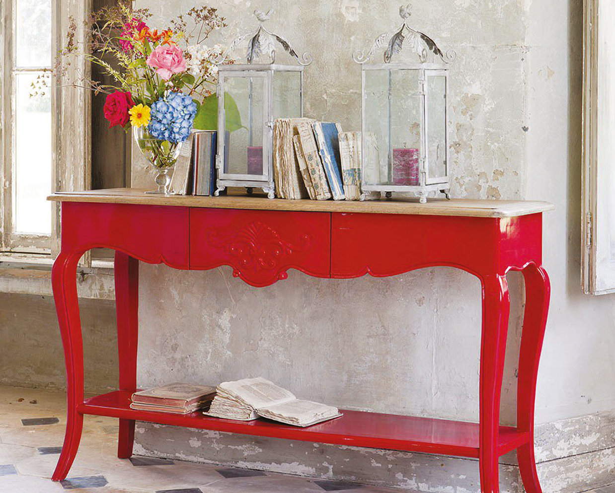 A bold red colour will certainly create a focal point.