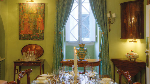The Dining Room has a distinctive character. The use of colour and antique furniture does much to enhance the mood of this room creating a classic, intimate atmosphere in which to dine. © Alan Carville