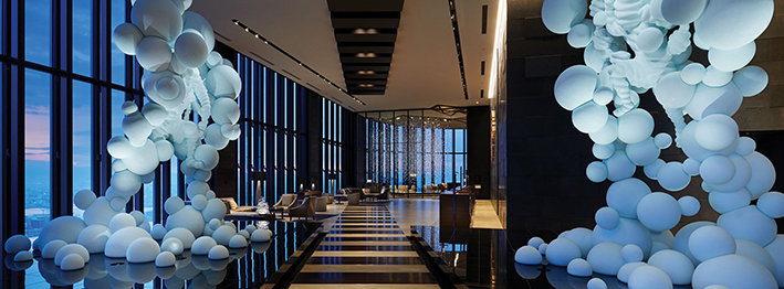 Movement created by light and space in The Contrad Hotel Osaka.