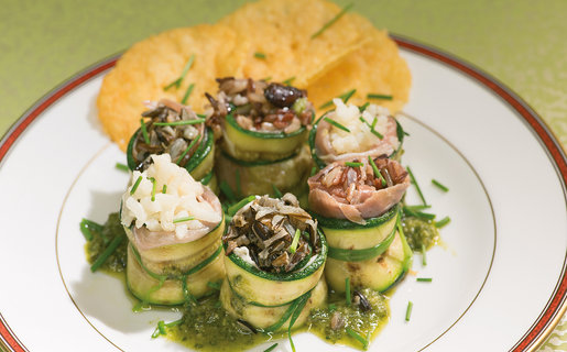 Courgette, ham and rice rolls