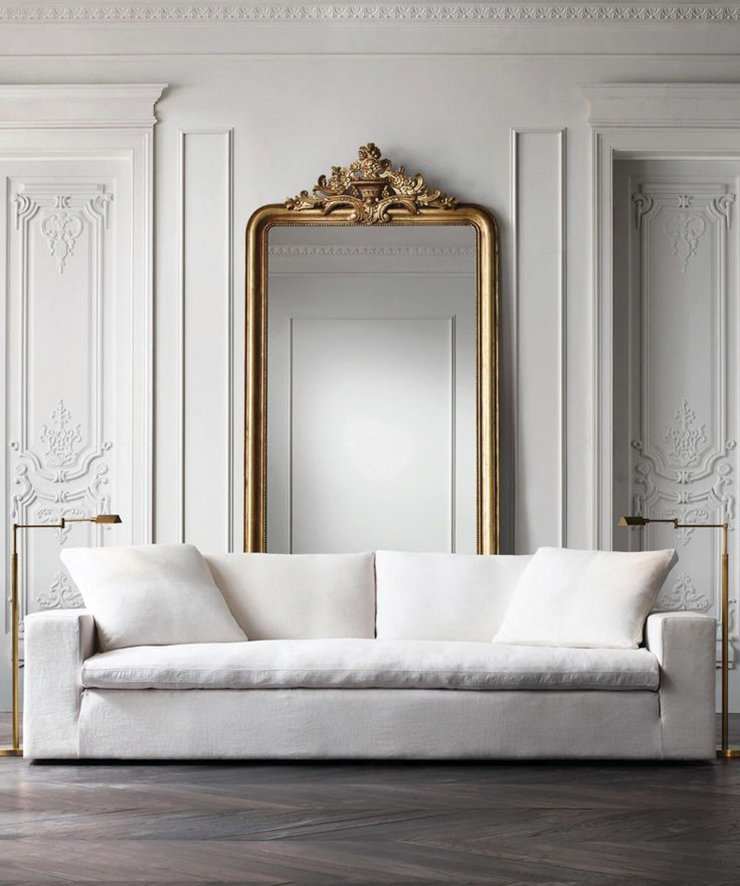 Large mirrors are so impactful in all white spaces.