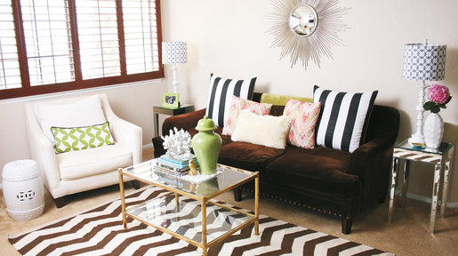 A light coloured rug can visually alter the size of your room.