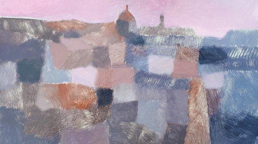Village Under Pink Sky
