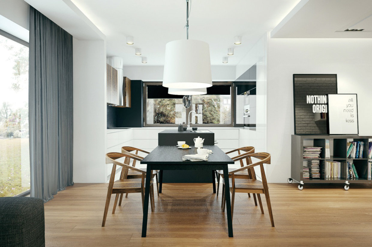 With a monochrome palette, the wooden flooring and furniture brings elegance and warmth to the space.