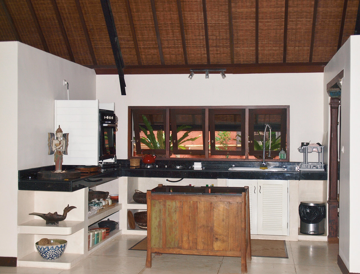 A functional kitchen that is notable for its simplicity and use of natural materials in true Bali style! © Nikita Arnett