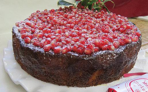 Gluten free pomegranate and Satsuma cake
