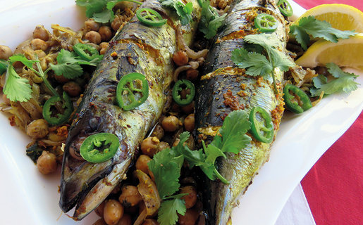 Roast mackerel on a bed of spiced chickpeas