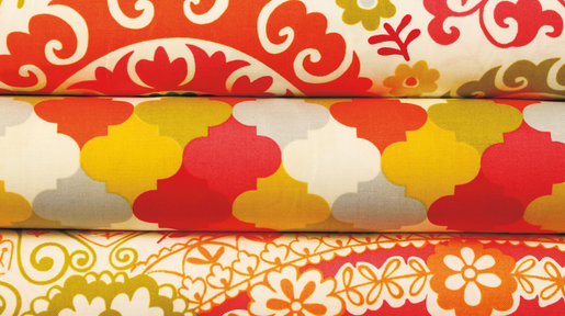 Modern textiles are copied versions of the old patterns with colours which suit today's interiors.