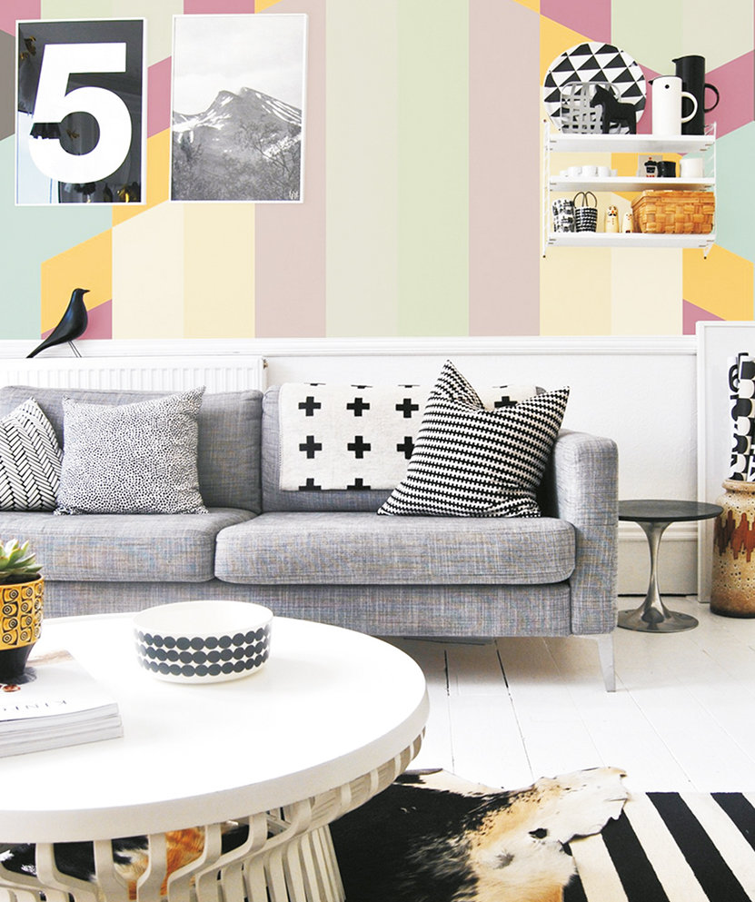 Hemlock in the form of wall art can play well with bolder colours.